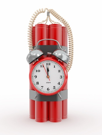 Countdown.  Time bomb with alarm clock detonator. Dynamit. 3d Stock Photo - 12926538
