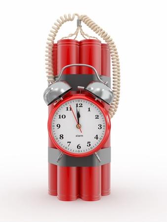 dinamita: Cuenta atrás. Bomba de tiempo con el detonador de la alarma del reloj. Dynamit. 3d