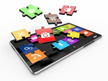 ic�ne logiciel: Logiciels Tablet PC. Ecran de puzzle avec des ic�nes. 3d