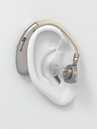 Hearing aid on white ear. Three-dimensional image. 3d photo