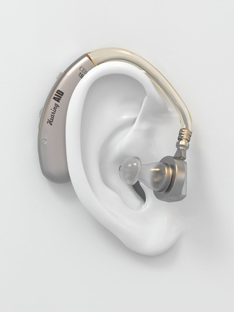 deaf: Hearing aid on white ear. Three-dimensional image. 3d Stock Photo