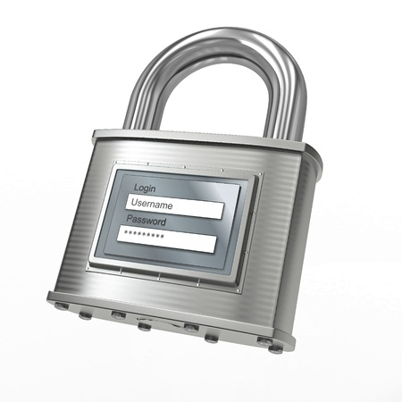 Padlock with login and password on white isolated background. 3d Stock Photo - 12926604