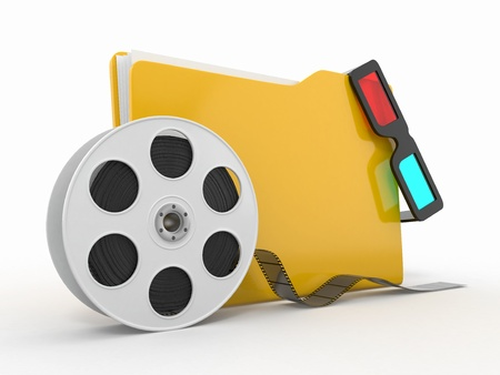Multimedia folder. Film reel and 3d glasses on white background.. Stock Photo - 12926581