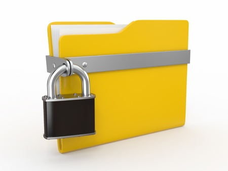 Confidential files. Padlock on folder on white background. 3d photo