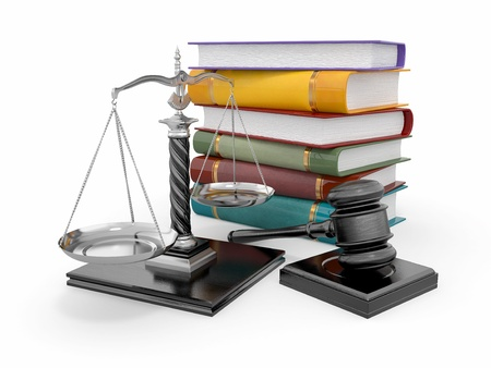 law scale: Justice concept. Law, scale and gavel. 3d Stock Photo