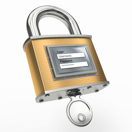 Padlock with login and password on white isolated background. 3d Stock Photo - 13030002
