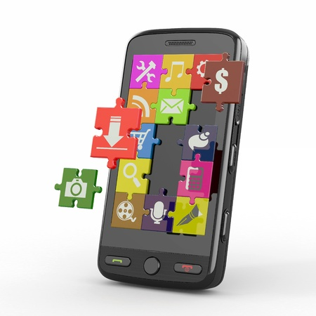 secretary on phone: Mobile phone software. Screen from puzzle with icons. 3d