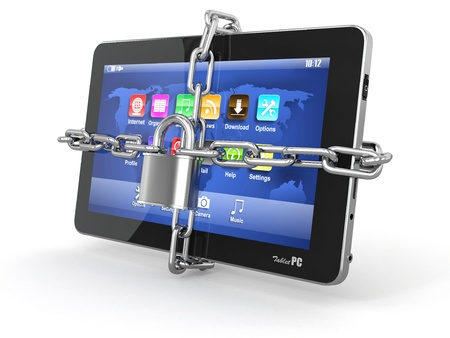 Tablet pc security. Chain with lock on computer. 3d photo