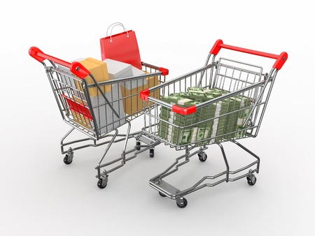 consumerism: Consumerism. Purchase of goods for money. Shopping cart with boxes and dollars. 3d