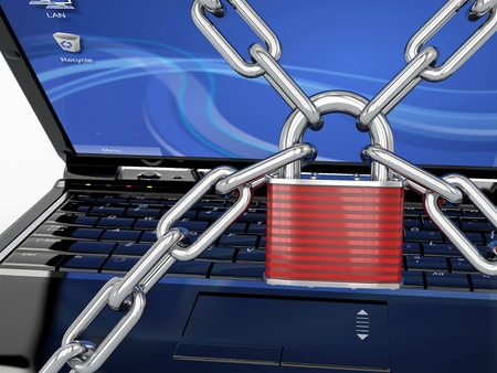 Pc security. Laptop with chain and lock. 3d photo