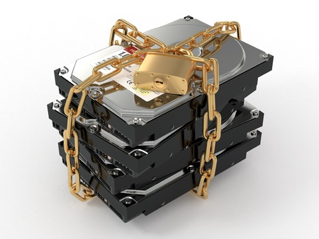 data protection: Protected hdd. Chain and lock on hard disk drive. 3d