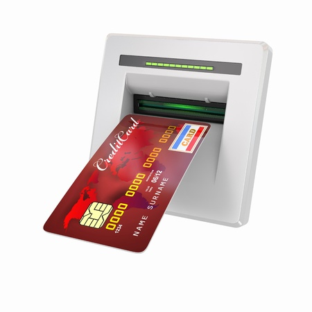 bankomat: Money withdrawal. ATM and credit or debit card. 3d