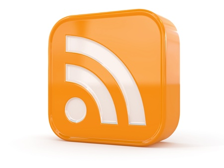 rss feed icon: Rss or feed icon on white isolated background. 3d Stock Photo