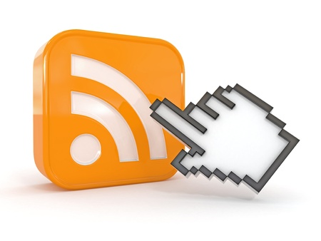 rss feed icon: Rss or feed icon and cursor. 3d Stock Photo
