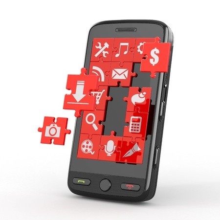 Mobile phone software. Screen from puzzle with icons. 3d Stock Photo - 13098983