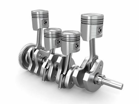 pistones: Pistones y cig�e�al. motor de cuatro cilindros. 3d