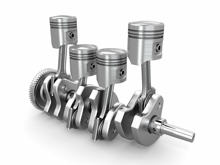 Pistons and crankshaft. four cylinder engine. 3d photo