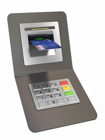Money withdrawal. ATM and credit or debit card. 3d Stock Photo - 13099127