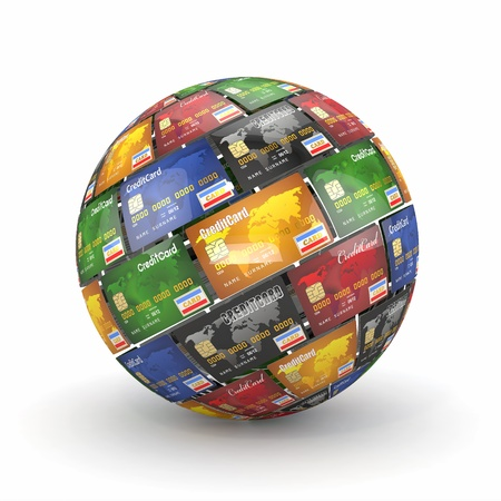 debit: Sphere or globe from credit cards. 3d Stock Photo