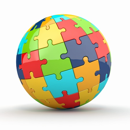complicated: Globe or sphere from puzzles on white background. 3d Stock Photo