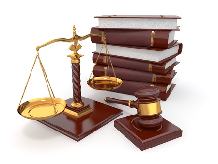 prosecution: Justice concept. Law, scale and gavel. 3d Stock Photo
