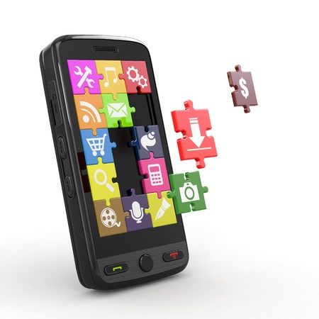 Mobile phone software. Screen from puzzle with icons. 3d Stock Photo - 13208795