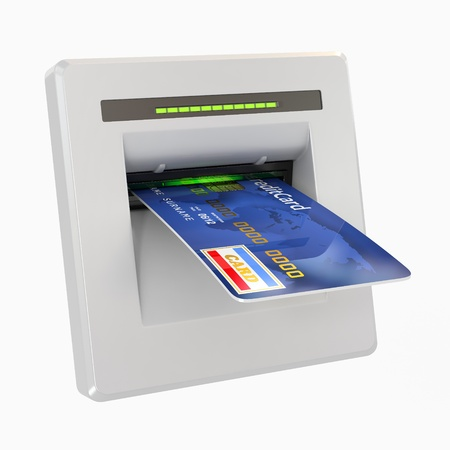 technology transaction: Money withdrawal. ATM and credit or debit card. 3d