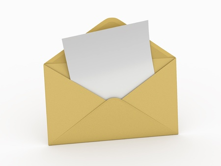 Mail. Envelope and empty letter on white background.  3d Stock Photo