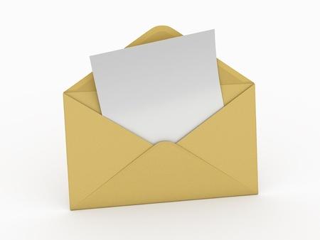 koperty: Poczta. Koperta i pusty list na białym tle. 3d