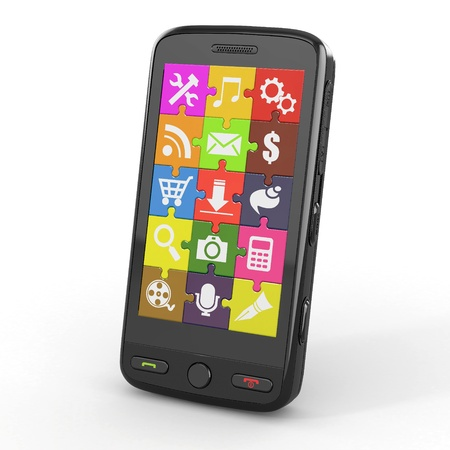 Mobile phone software  Screen from puzzle with icons  3d Stock Photo - 13282622