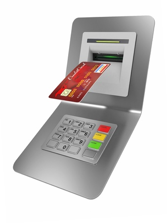 Money withdrawal  ATM and credit or debit card  3d Stock Photo - 13282623
