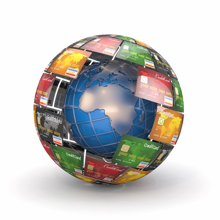 Earth in sphere from credit cards  3d Stock Photo - 13282629