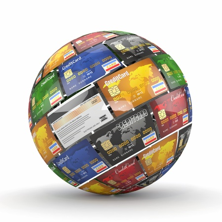 credit cards: Sphere or globe from credit cards  3d Stock Photo