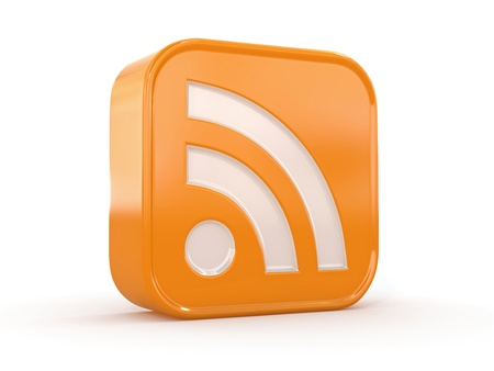 Rss-oder Futtermittel-Symbol auf weißem Hintergrund 3d Standard-Bild - 13282611