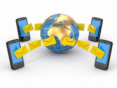 mobile voip: Sms messages, mobile phone and earth  SMS voting  3d Stock Photo