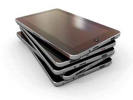 netbooks: Group of tablet pc on white isolated background  3d