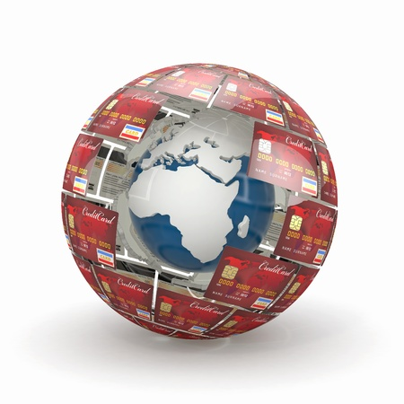 Earth in sphere from credit cards. 3d Stock Photo - 13613435