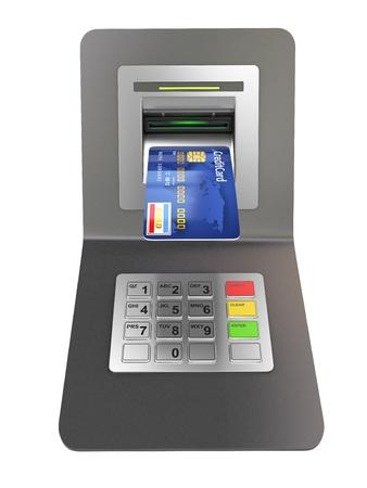 Geld terugtrekking. ATM en credit-of debitcard. 3d