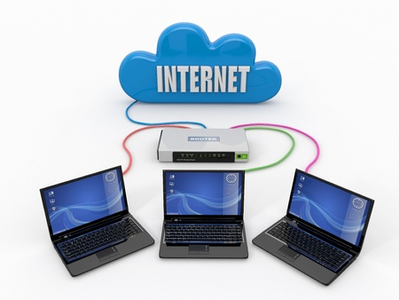 Home Network. Router and three laptops. 3d Stock Photo - 13613414