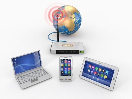 communicatie: WiFi-thuisnetwerk. Internet via router op telefoon, laptop en tablet pc. 3d