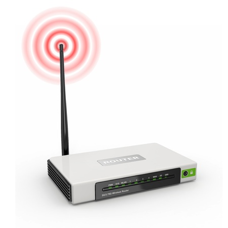 wireless internet: Wireless wifi Router on white isolated background. 3d Stock Photo