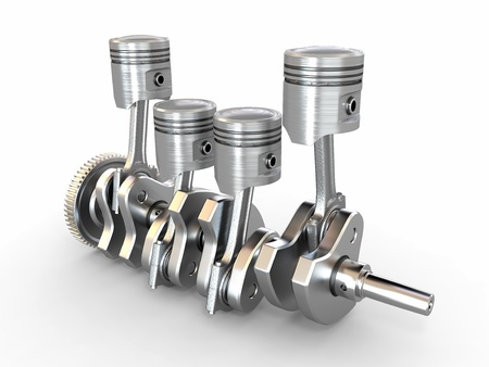 piston rod: Pistons and crankshaft. four cylinder engine. 3d Stock Photo