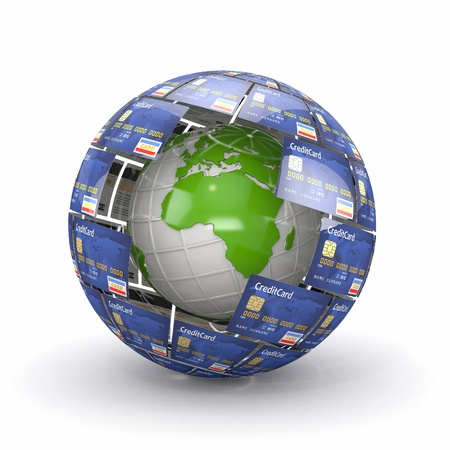 Earth in sphere from credit cards  3d Stock Photo - 13703737