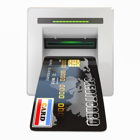 Money withdrawal  ATM and credit or debit card  3d photo