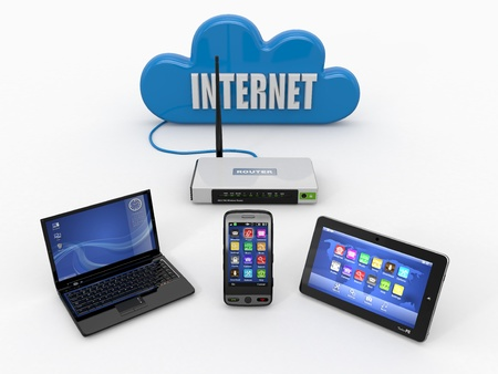 Home wifi network  Internet via router on phone, laptop and tablet pc  3d Stock Photo - 13703686