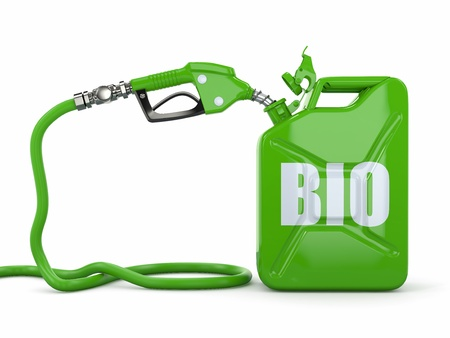 biofuel: Biofuel  Gas pump nozzle and jerrycan  3d Stock Photo