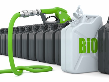 bio fuel: Biofuel  Gas pump nozzle and jerrycan  3d Stock Photo