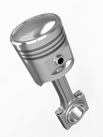 piston: Piston and conrod on white isolated background  3d