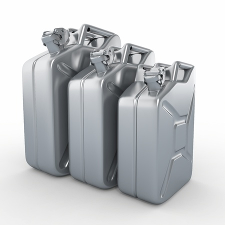 Three aluminium jerrycans  Gasoline can on white background  3d photo