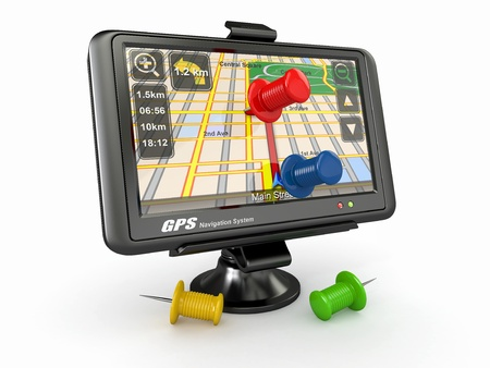GPS Global positioning system and thumbtacks 3d